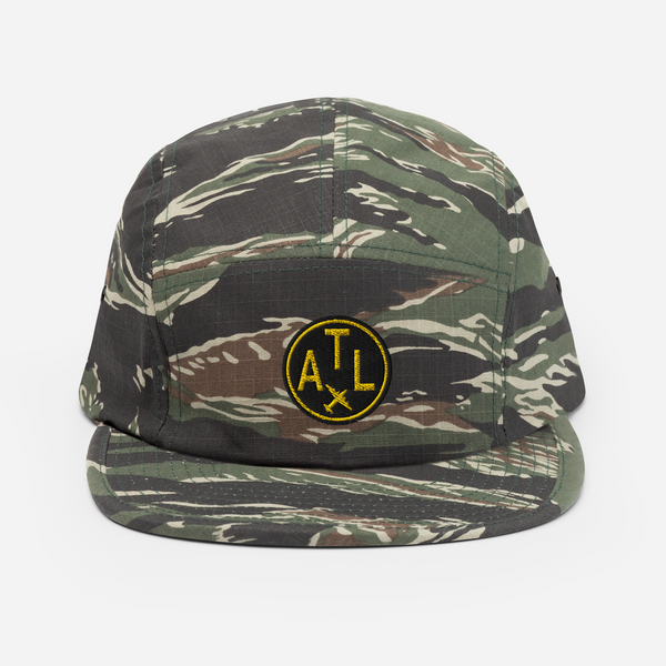 RWY23 - ATL Atlanta Airport Code Camper Hat - City-Themed Merchandise - Roundel Design with Vintage Airplane - Image 1