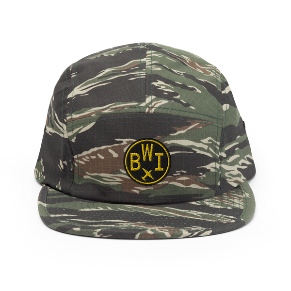 RWY23 - BWI Baltimore-Washington Airport Code Camper Hat - City-Themed Merchandise - Roundel Design with Vintage Airplane - Image 1