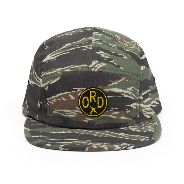 RWY23 - ORD Chicago Airport Code Camper Hat - City-Themed Merchandise - Roundel Design with Vintage Airplane - Image 1