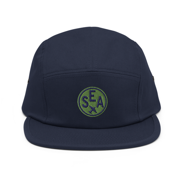 RWY23 - SEA Seattle Airport Code Camper Hat - City-Themed Merchandise - Roundel Design with Vintage Airplane - Image 1
