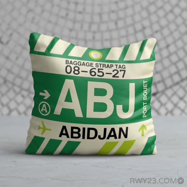 RWY23 - ABJ Abidjan, Cote d'Ivoire Airport Code Throw Pillow - Birthday Gift Christmas Gift
