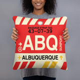 ABQ Albuquerque Throw Pillow • Airport Code & Vintage Baggage Tag Design
