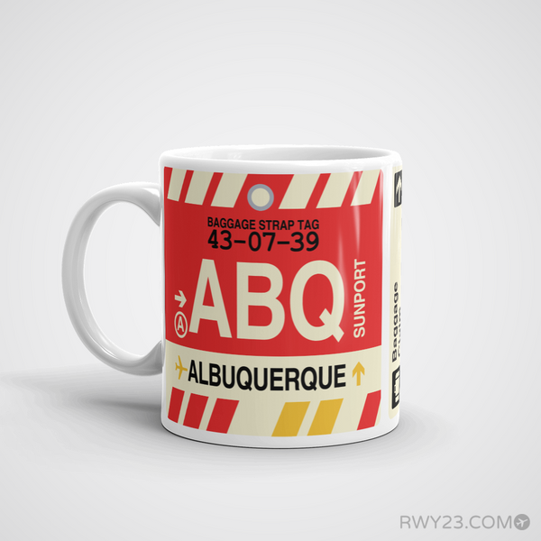 RWY23 - ABQ Albuquerque, New Mexico Airport Code Coffee Mug - Birthday Gift, Christmas Gift - Left