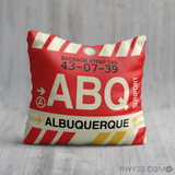 RWY23 - ABQ Albuquerque, New Mexico Airport Code Throw Pillow - Birthday Gift Christmas Gift