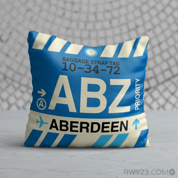 RWY23 - ABZ Aberdeen, Scotland (UK) Airport Code Throw Pillow - Birthday Gift Christmas Gift