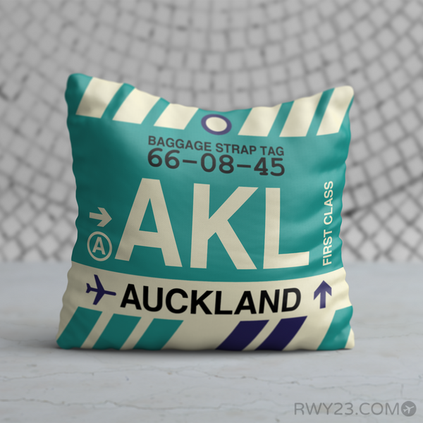 RWY23 - AKL Auckland, New Zealand Airport Code Throw Pillow - Birthday Gift Christmas Gift