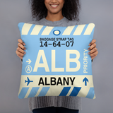 ALB Albany Throw Pillow • Airport Code & Vintage Baggage Tag Design