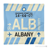RWY23 - ALB Albany, New York Airport Code Throw Pillow - Aviation Gift Travel Gift