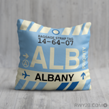 RWY23 - ALB Albany, New York Airport Code Throw Pillow - Birthday Gift Christmas Gift