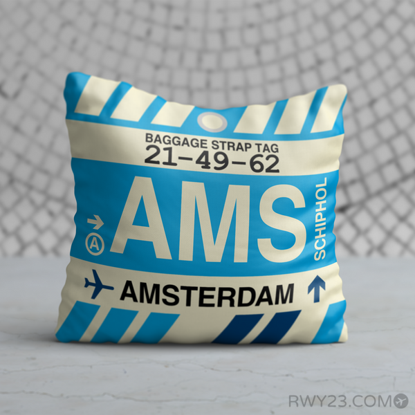 RWY23 - AMS Amsterdam, the Netherlands Airport Code Throw Pillow - Birthday Gift Christmas Gift
