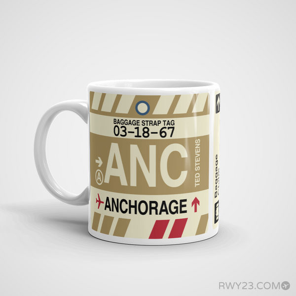 RWY23 - ANC Anchorage, Alaska Airport Code Coffee Mug - Birthday Gift, Christmas Gift - Left