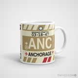 RWY23 - ANC Anchorage, Alaska Airport Code Coffee Mug - Graduation Gift, Housewarming Gift - Right