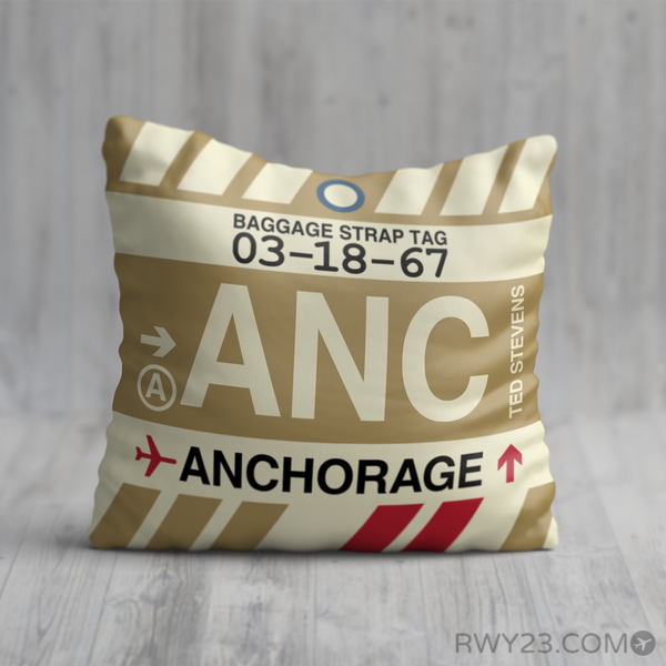 RWY23 - ANC Anchorage, Alaska Airport Code Throw Pillow - Birthday Gift Christmas Gift