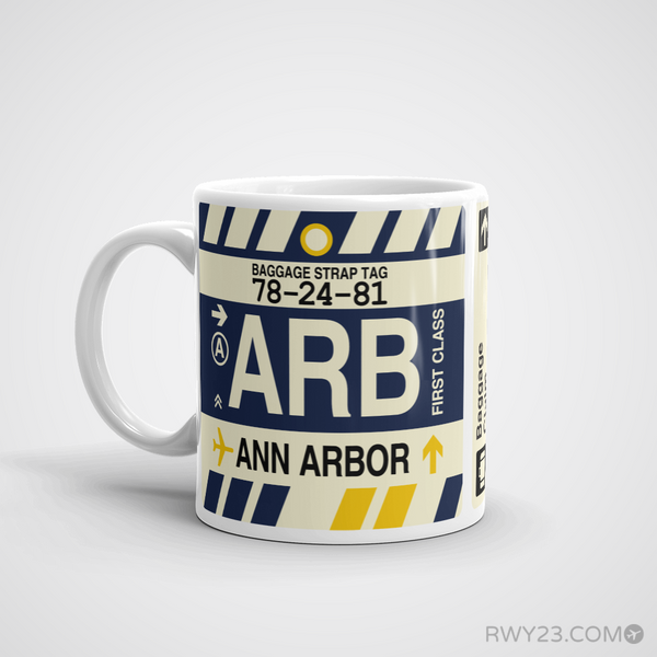 RWY23 - ARB Ann Arbor, Michigan Airport Code Coffee Mug - Birthday Gift, Christmas Gift - Left