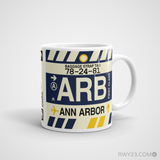 RWY23 - ARB Ann Arbor Airport Code Coffee Mug - Graduation Gift, Housewarming Gift - Right