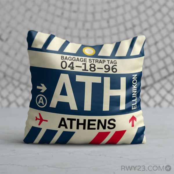 RWY23 - ATH Athens, Greece Airport Code Throw Pillow - Birthday Gift Christmas Gift