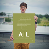 "RWY23 - ATL Atlanta Airport Runway Diagram Unframed Rectangle Poster - Housewarming Gift - 18""x24"" Person"