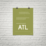 "RWY23 - ATL Atlanta Airport Runway Diagram Unframed Rectangle Poster - Christmas Gift - 18""x24"" Brick"