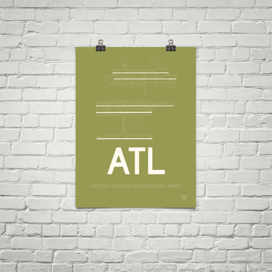 "RWY23 ATL Atlanta Airport Diagram Poster 18""x24"" Brick"