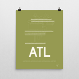 "RWY23 - ATL Atlanta Airport Runway Diagram Unframed Rectangle Poster - Expat Gift - 16""x20"" Wall"