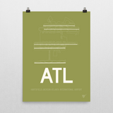"RWY23 - ATL Atlanta Airport Runway Diagram Unframed Rectangle Poster - Birthday Gift - 18""x24"" Wall"