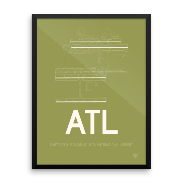 "RWY23 - ATL Atlanta Airport Runway Diagram Framed Rectangle Poster - Christmas Gift - 18""x24"" Wall"