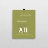 "RWY23 - ATL Atlanta Airport Runway Diagram Unframed Rectangle Poster - Airport Gift - 8""x10"" Wall"