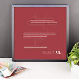 "RWY23 ATL Atlanta Airport Runway Diagram Framed Poster Desk 18""x18"""