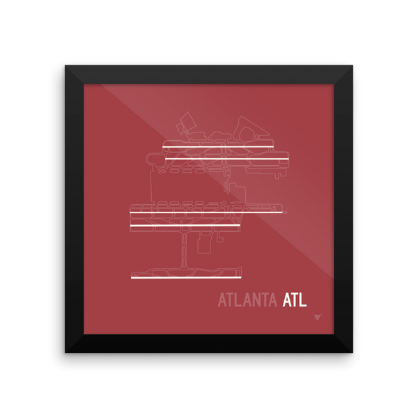 "RWY23 ATL Atlanta Airport Runway Diagram Framed Poster Wall 10""x10"""