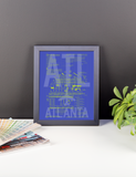 "RWY23 ATL Atlanta Airport Diagram Framed Poster 8""x10"" Desk"