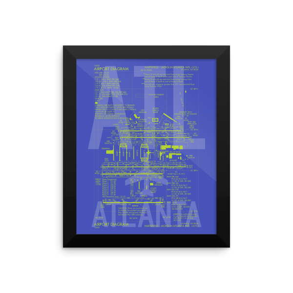 "RWY23 ATL Atlanta Airport Diagram Framed Poster 8""x10"" Wall"