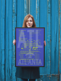 "RWY23 ATL Atlanta Airport Diagram Framed Poster 18""x24"" Person"