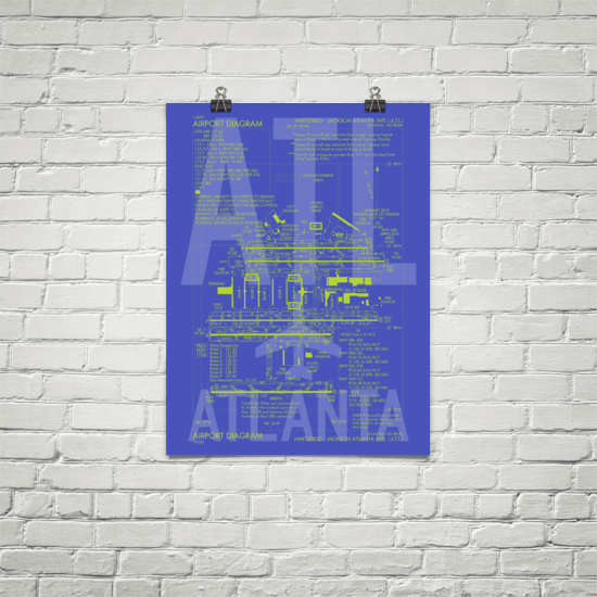 "RWY23 - ATL Atlanta Airport Diagram Poster - Aviation Art - Birthday Gift, Christmas Gift, Home and Office Decor - 18""x24"" Brick"