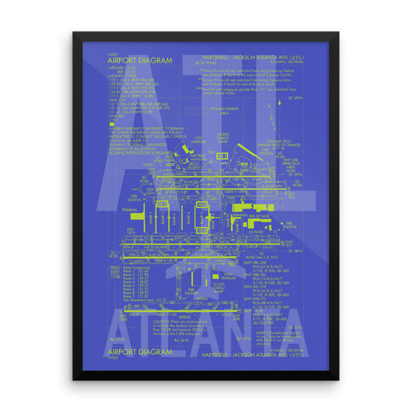 "RWY23 - ATL Atlanta Airport Diagram Framed Poster - Aviation Art - Birthday Gift, Christmas Gift, Home and Office Decor - 18""x24"" Wall"