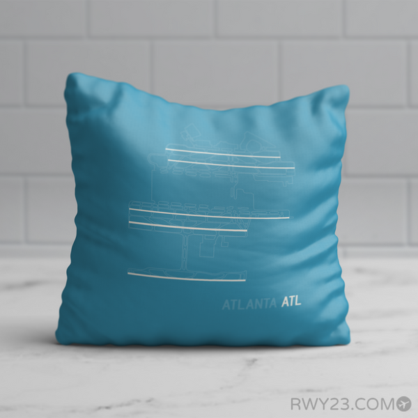 RWY23 - ATL Atlanta Throw Pillow - Airport Runway Diagram Design - Birthday Gift Christmas Gift