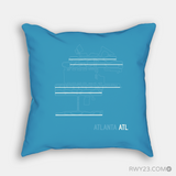 RWY23 - ATL Atlanta Throw Pillow - Airport Runway Diagram Design - Housewarming Gift Aviation Gift