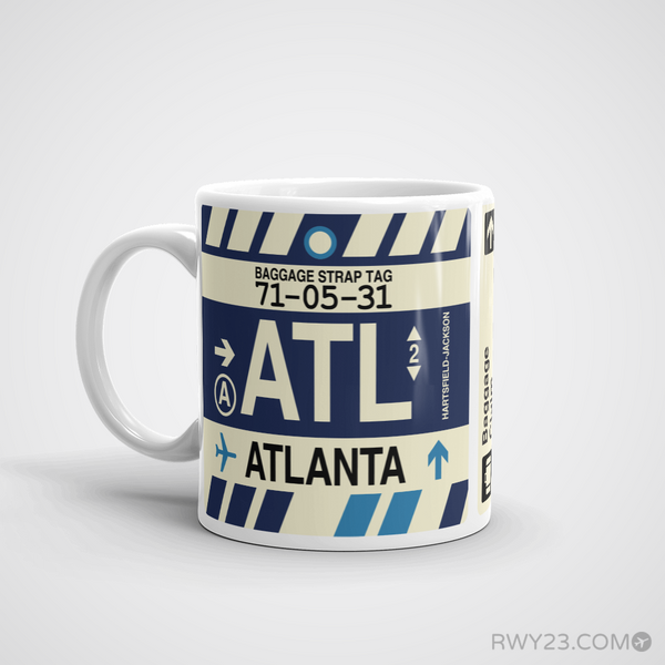 RWY23 - ATL Atlanta, Georgia Airport Code Coffee Mug - Birthday Gift, Christmas Gift - Left