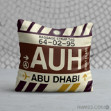 RWY23 - AUH Abu Dhabi, United Arab Emirates Airport Code Throw Pillow - Birthday Gift Christmas Gift