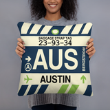 AUS Austin Throw Pillow • Airport Code & Vintage Baggage Tag Design