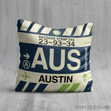 RWY23 - AUS Austin, Texas Airport Code Throw Pillow - Birthday Gift Christmas Gift