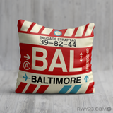 RWY23 - BAL Baltimore, Maryland Airport Code Throw Pillow - Birthday Gift Christmas Gift