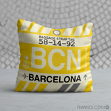 RWY23 - BCN Barcelona, Spain Airport Code Throw Pillow - Birthday Gift Christmas Gift