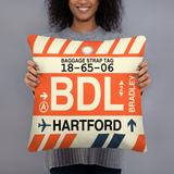BDL Hartford Throw Pillow • Airport Code & Vintage Baggage Tag Design