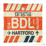 RWY23 - BDL Hartford, Connecticut Airport Code Throw Pillow - Aviation Gift Travel Gift
