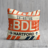 RWY23 - BDL Hartford, Connecticut Airport Code Throw Pillow - Birthday Gift Christmas Gift