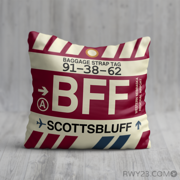 RWY23 - BFF Scottsbluff, Nebraska Airport Code Throw Pillow - Birthday Gift Christmas Gift