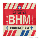RWY23 - BHM Birmingham, Alabama Airport Code Throw Pillow - Aviation Gift Travel Gift