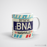 RWY23 - BNA Nashville, Tennessee Airport Code Coffee Mug - Graduation Gift, Housewarming Gift - Right
