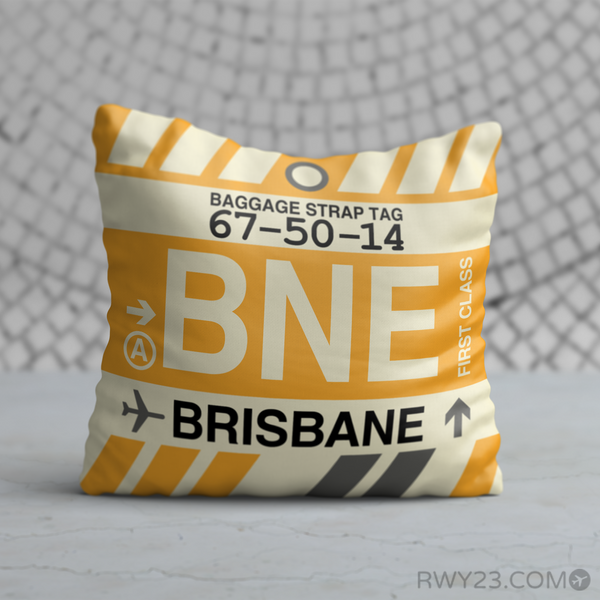 RWY23 - BNE Brisbane, Australia Airport Code Throw Pillow - Birthday Gift Christmas Gift
