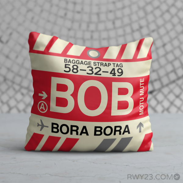 RWY23 - BOB Bora Bora,  Airport Code Throw Pillow - Birthday Gift Christmas Gift